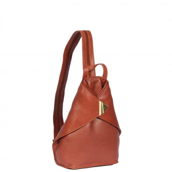 Small Travel Leather Backpack HOL259 Brown