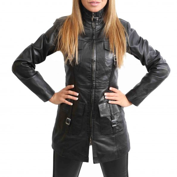 Womens Leather Dual Zip Fastening Jacket Kendall Black