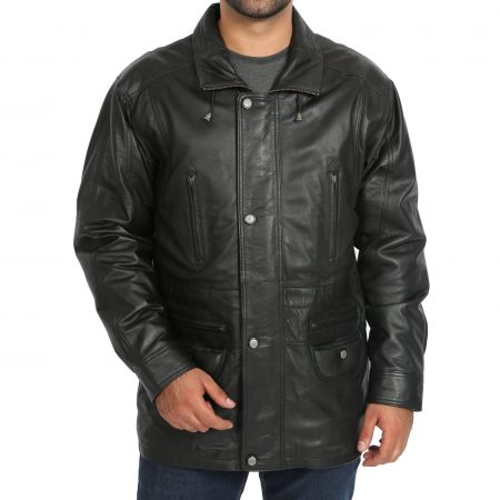 Mens Leather Winter Car Coat Hip Length Jason Black