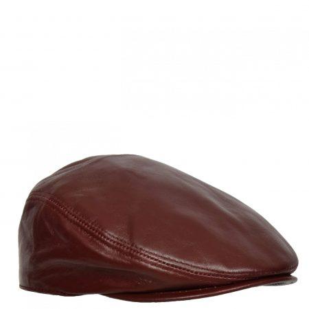 Soft Leather Classic Flat Cap Burgundy