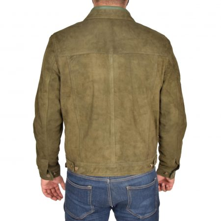 Mens Real Suede Trucker Harrington Jacket Daryl Green