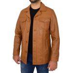 Men's Leather Reefer Buttoned Blazer