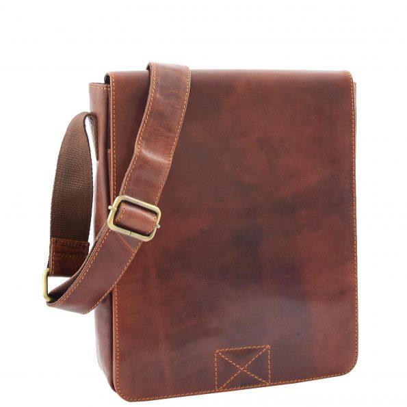 Mens Leather Cross Body Flight Messenger Bag Bratton Brown