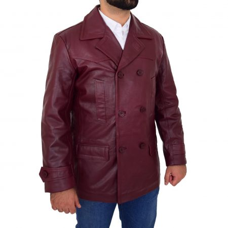 Mens Double Breasted Leather Peacoat Salcombe Burgundy