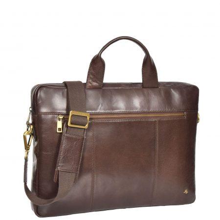 Slimline Cross Body Leather Briefcase Vernon Brown
