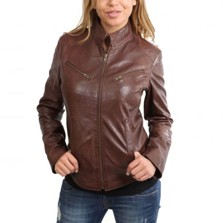 Womens Leather Standing Collar Jacket Becky Brown