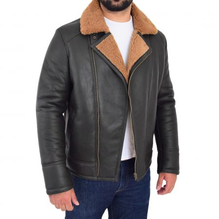 Mens Aviator Sheepskin Pilot Jacket Blen Brown Ginger
