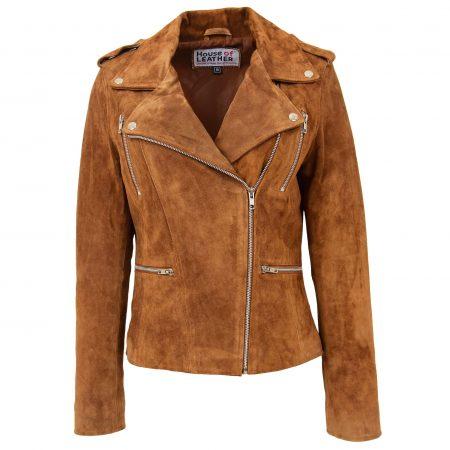 Womens Suede Biker Style Zip Jacket Skylar Tan