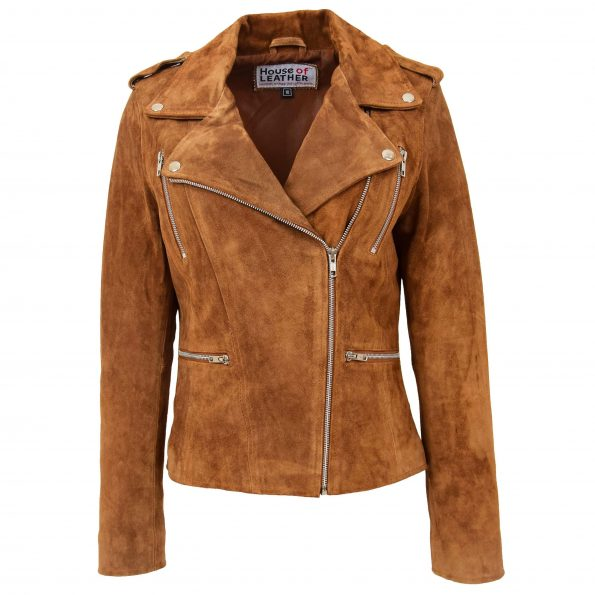 Women's Suede Biker Style Zip Jacket Tan