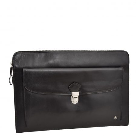 Leather Portfolio Case with front pocket Harvard Black