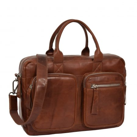 Mens Vintage Leather Organiser Briefcase Mason Tan
