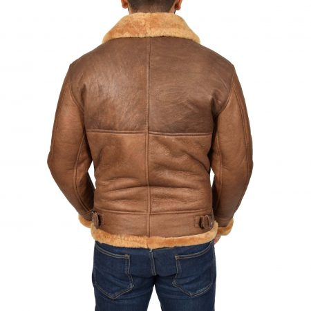 Mens B3 Sheepskin Vintage Flying Jacket Felix Tan