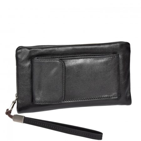 Real Leather Wristlet Phone Pouch H6049 Black For Men