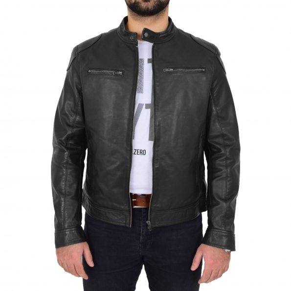 Mens Biker Soft Casual Leather Jacket Milton Black