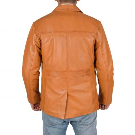 Mens Leather Classic Reefer Jacket Thrill Tan