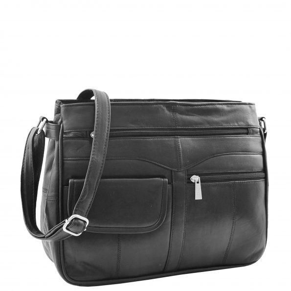 Womens Leather Cross Body Organiser Bag HOL001 Black