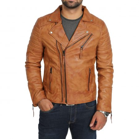 Mens Biker Leather Jacket Dual Zip Hook Tan