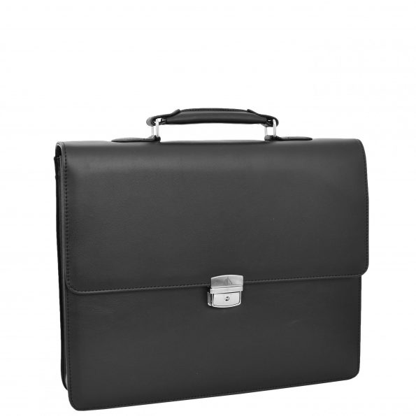 Mens Faux Leather Flap Over Briefcase Stirling Black