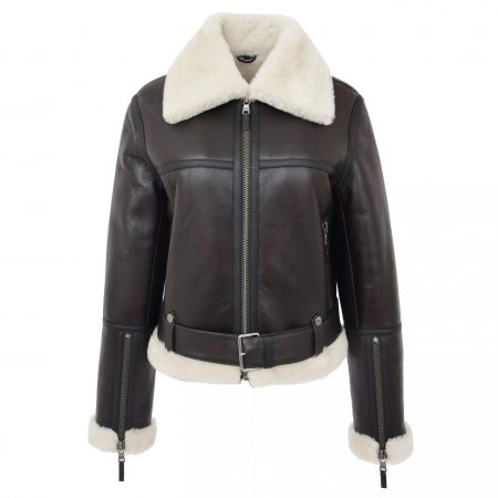 Womens Sheepskin Aviator RAF Pilot Jacket Elsie Brown White