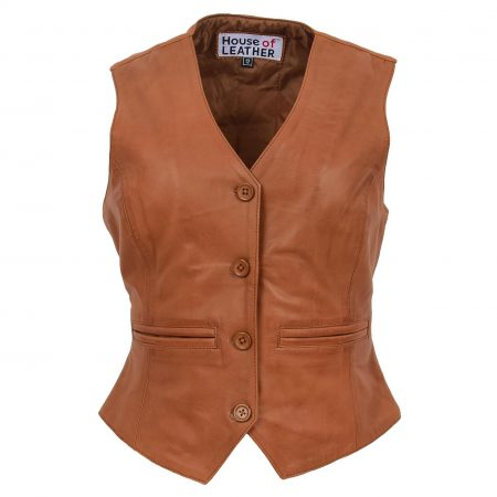 Womens Leather Classic Buttoned Waistcoat Rita Tan