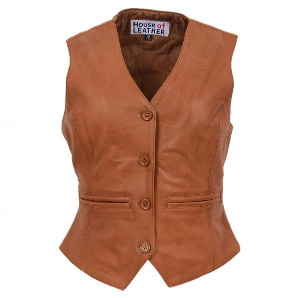 Women's Classic Tan Leather Waistcoat