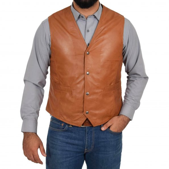 Mens Leather Traditional Waistcoat Petrelli Tan
