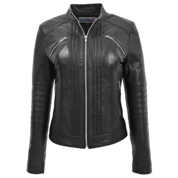 Womens Leather Classic Biker Style Jacket Alice Black