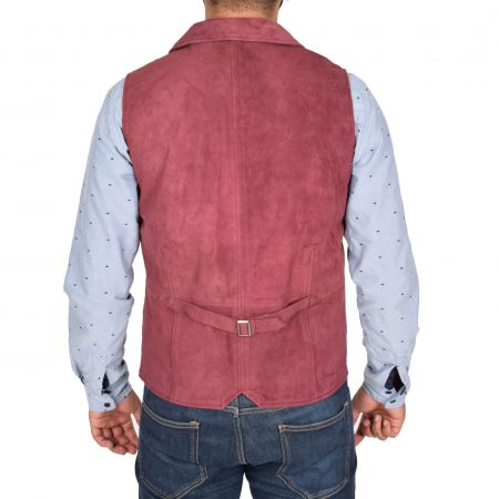 Mens Suede Buttoned Waistcoat Gilet Devin Burgundy