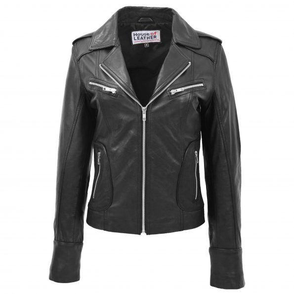 Womens Leather Fitted Biker Style Jacket Kim Black
