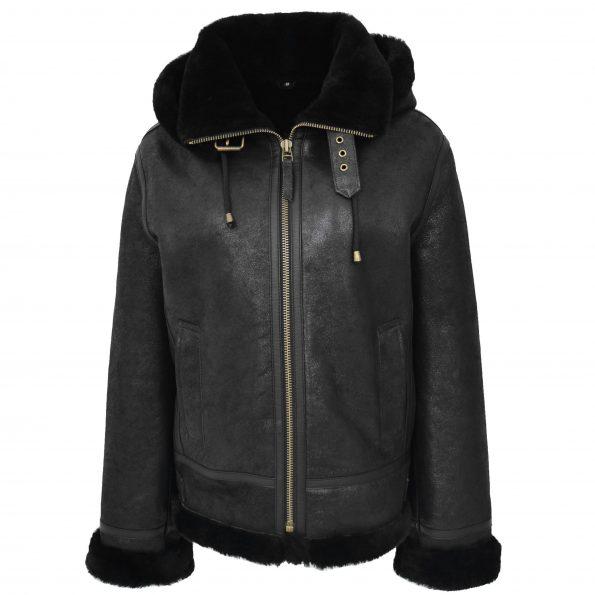 Womens Sheepskin B3 Detachable Hoodie Jacket Naomi Black
