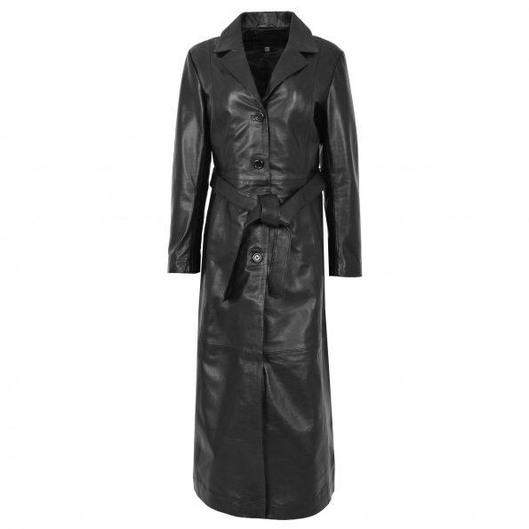Womens Leather Full Length Classic Coat Gabbie Black