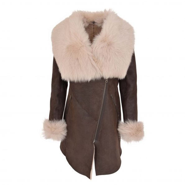 Womens 3/4 Length Sheepskin Coat with Toscana Trim Lucy Brown