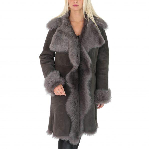 Womens 3/4 Length Toscana Shearling Luxury Coat Grey