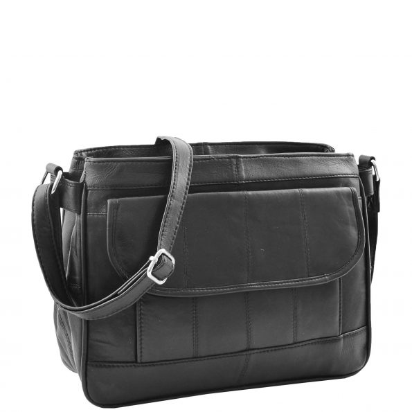 Womens Leather Cross Body Messenger Bag HOL002 Black