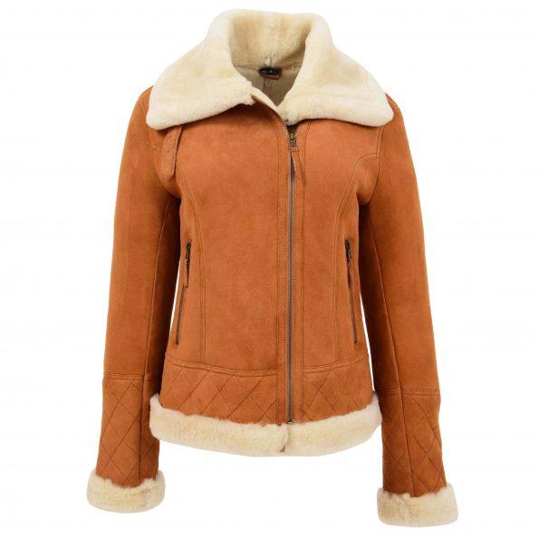 Womens Merino Sheepskin Aviator Jacket Isabelle Tan