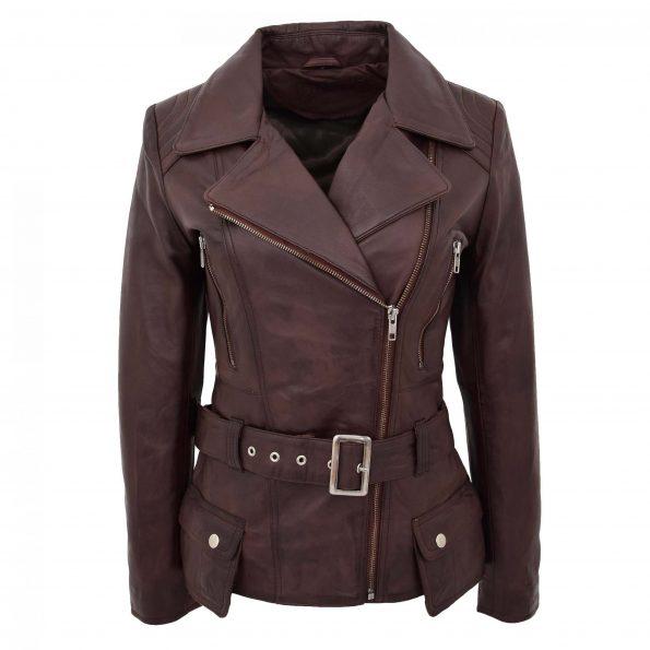 Womens Leather Hip Length Biker Jacket Celia Brown