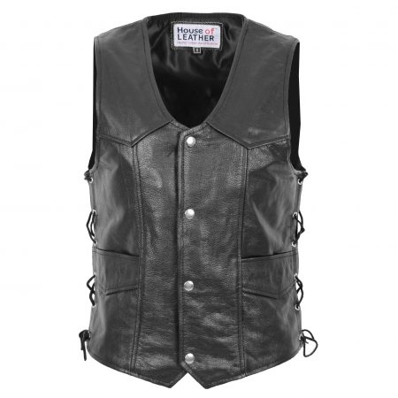 Mens Real Leather Gilet with Side Tassel Feature Jax Black