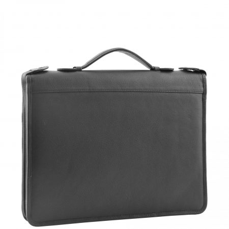 Real Leather Portfolio Case with Carry Handle HL49 Black