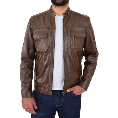 Mens Casual Biker Leather Jacket Jaime Timber