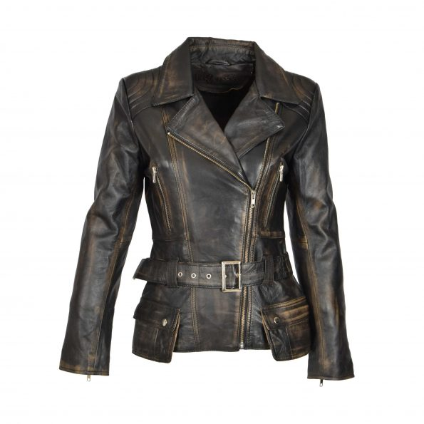 Womens Leather Hip Length Biker Jacket Celia Rub Off