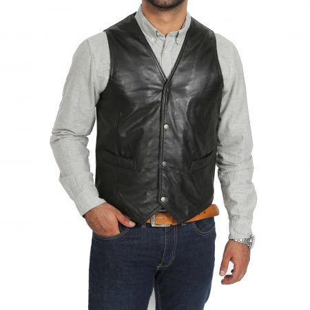 Mens Leather Traditional Waistcoat Petrelli Black