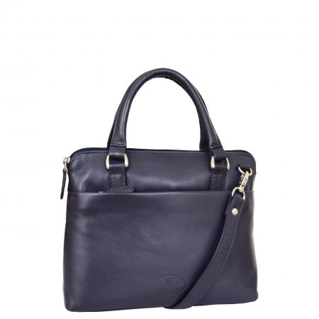 Womens Leather Small Tote Cross Body Bag Everly Navy