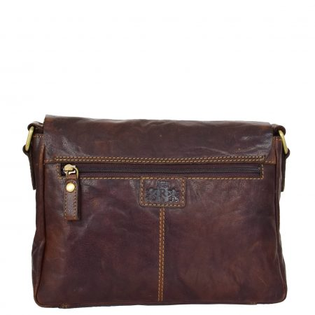 Womens Leather Classic Cross Body Shoulder Bag Hazel Brown