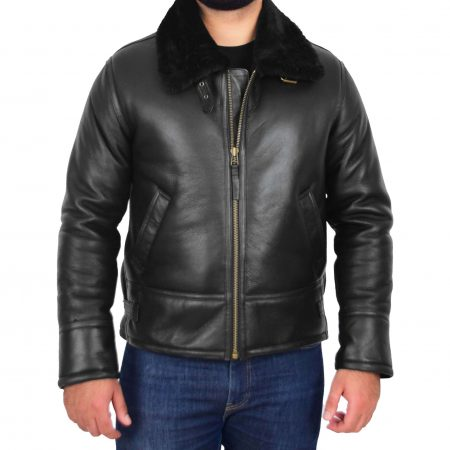 Mens Top Gun Style Sheepskin Jacket Oscar Black