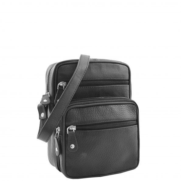 Mens Real Leather Cross Body Pouch Organiser Flight Bag Dayton Black