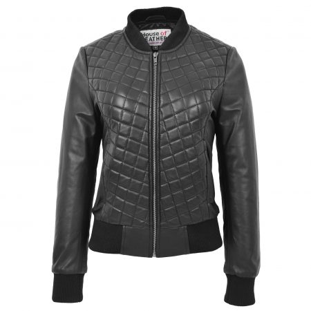 Womens Leather Varsity Quilted Bomber Jacket Sally Black