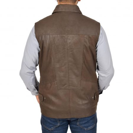 Mens Leather Multi Purpose Gilet Roger Brown