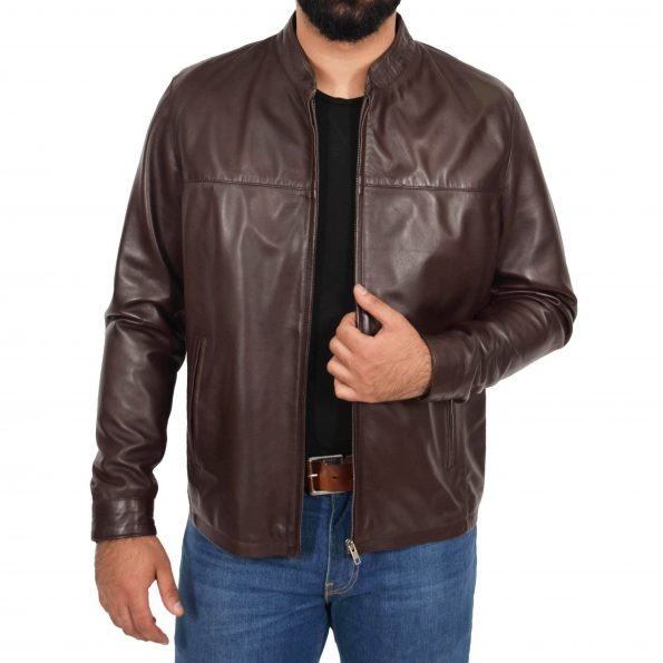 Mens Leather Standing Collar Jacket Paul Brown