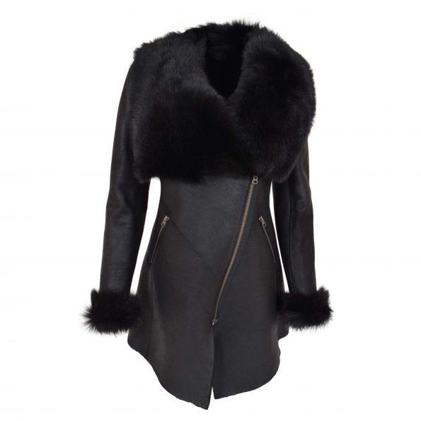 Womens 3/4 Length Sheepskin Coat with Toscana Trim Lucy Black
