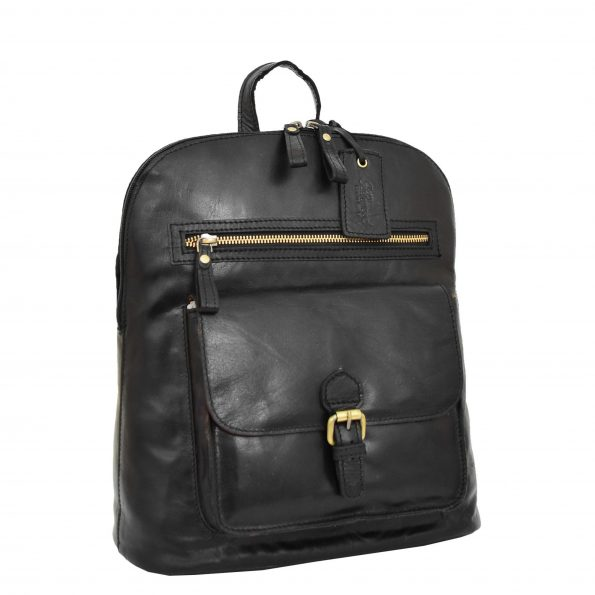 Womens Leather Casual Mid Size Backpack Doris Black